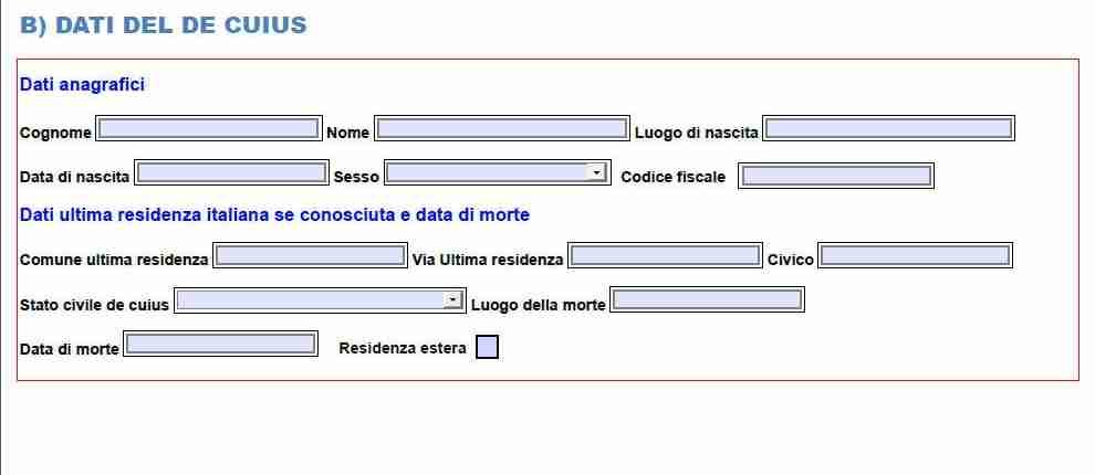 i dati del de cuius